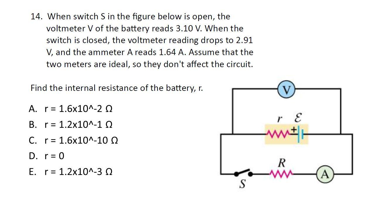A.r = 1.6x10^-2 Ω B.r = 1.2x10^-1 Ω C.r = 1.6x10^-10 Ω D.r = 0 E.r = 1.2x10^-3 Ω