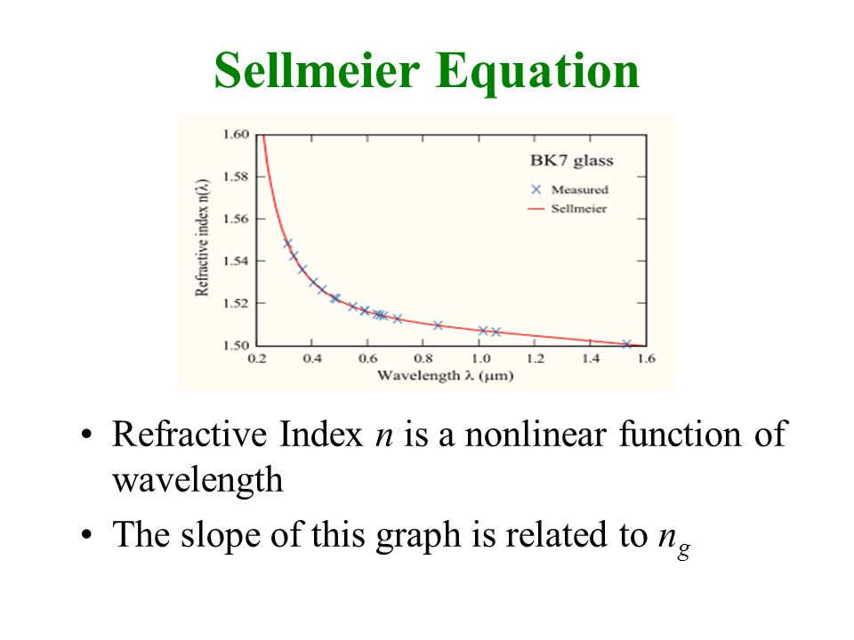 Sellmeier Equation Refractive Index n is a nonlinear function of wavelength The slope of this graph is related to n g