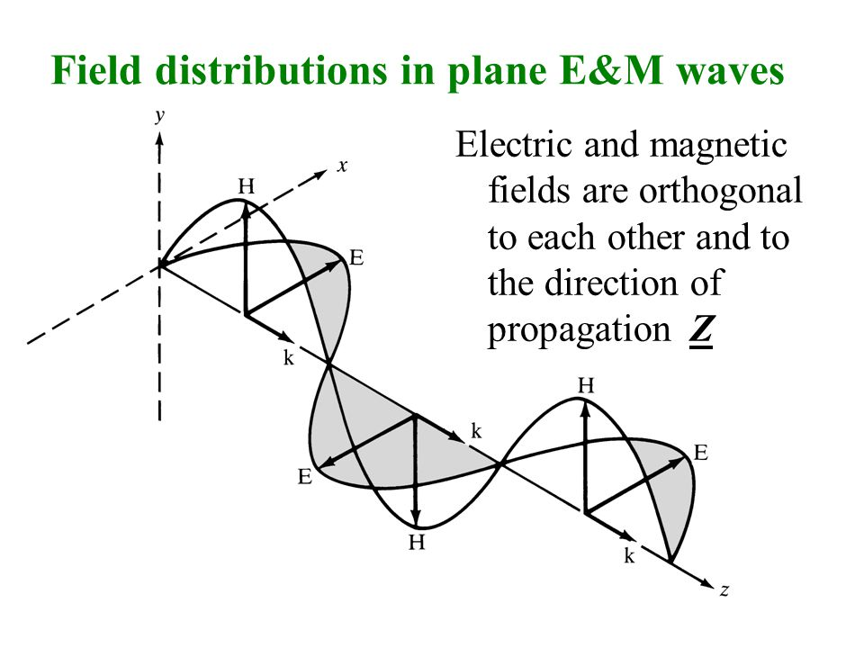 Field distributions in plane E&M waves Electric and magnetic fields are orthogonal to each other and to the direction of propagation Z