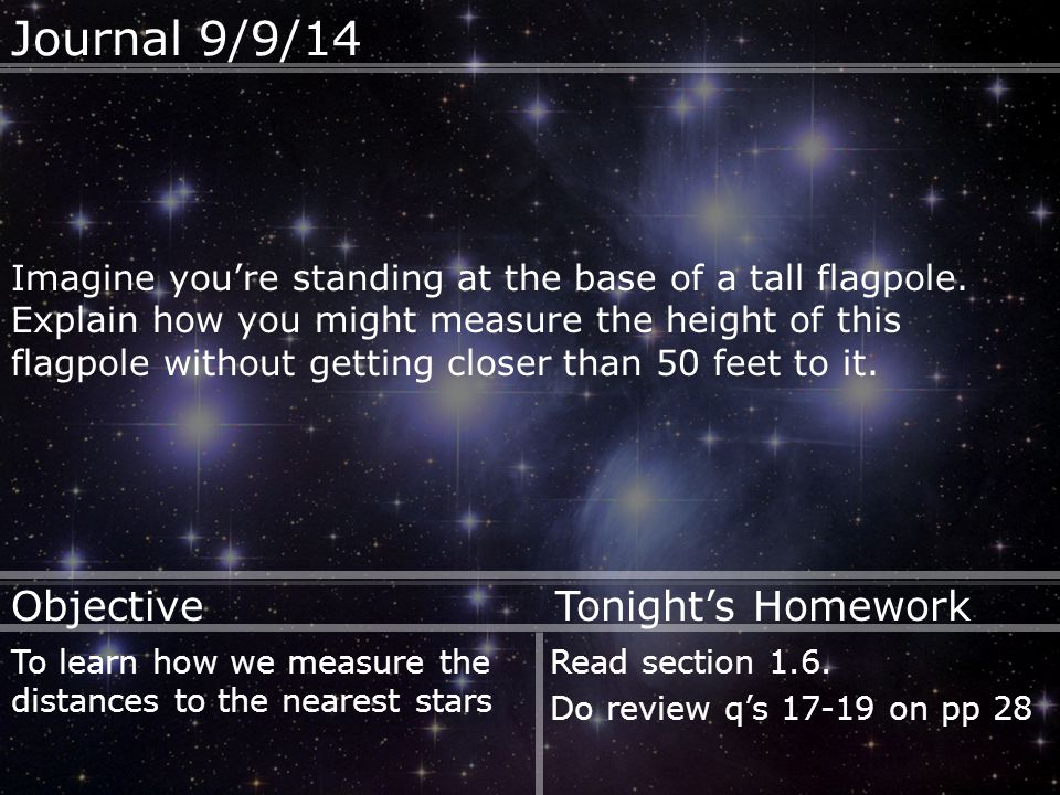 Journal 9/9/14 Imagine you're standing at the base of a tall flagpole.