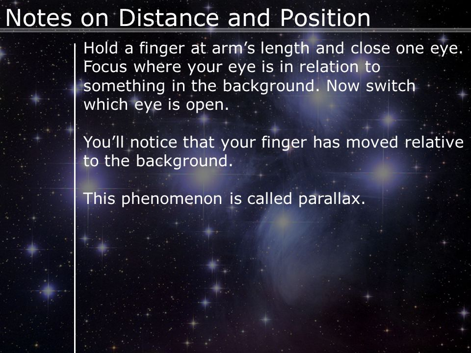3 Hold a finger at arm's length and close one eye. Focus where your eye is in relation to something in the background. Now switch which eye is open. Y