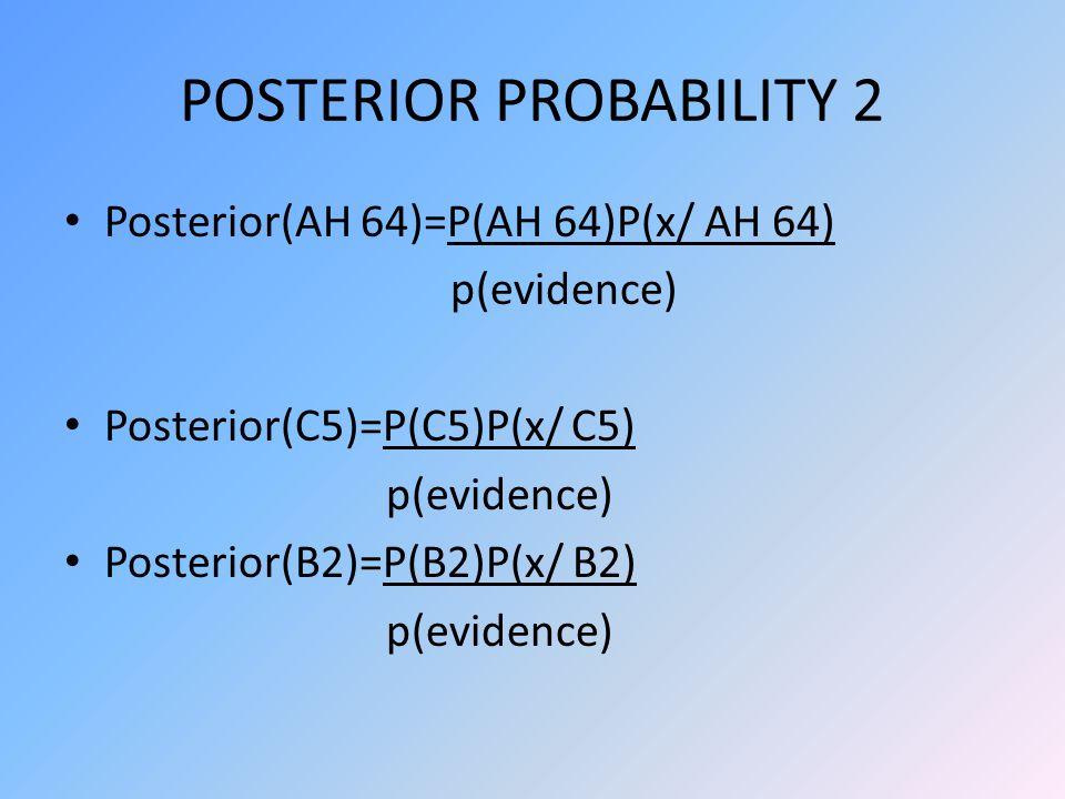 POSTERIOR PROBABILITY 2 Posterior(AH 64)=P(AH 64)P(x/ AH 64) p(evidence) Posterior(C5)=P(C5)P(x/ C5) p(evidence) Posterior(B2)=P(B2)P(x/ B2) p(evidence)