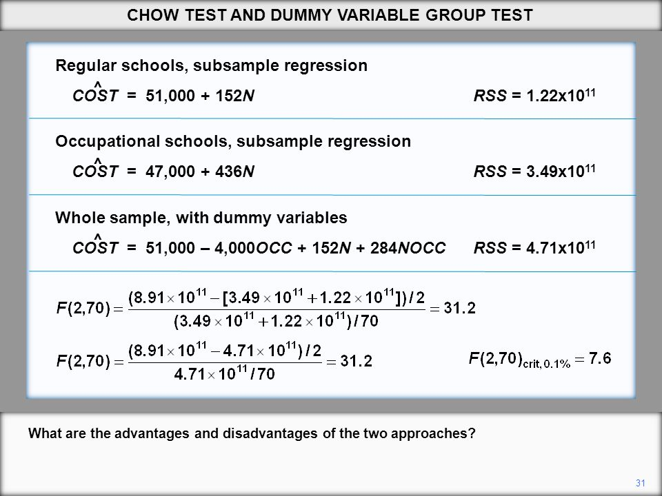 31 What are the advantages and disadvantages of the two approaches? CHOW TEST AND DUMMY VARIABLE GROUP TEST ^ ^ ^ Whole sample, with dummy variables C