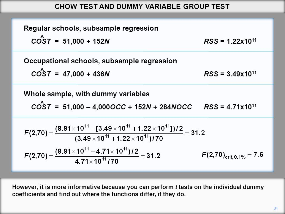 34 ^ ^ ^ However, it is more informative because you can perform t tests on the individual dummy coefficients and find out where the functions differ,