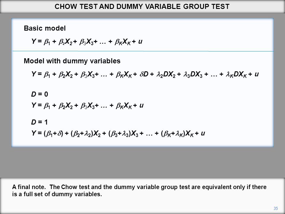 35 A final note. The Chow test and the dummy variable group test are equivalent only if there is a full set of dummy variables. CHOW TEST AND DUMMY VA