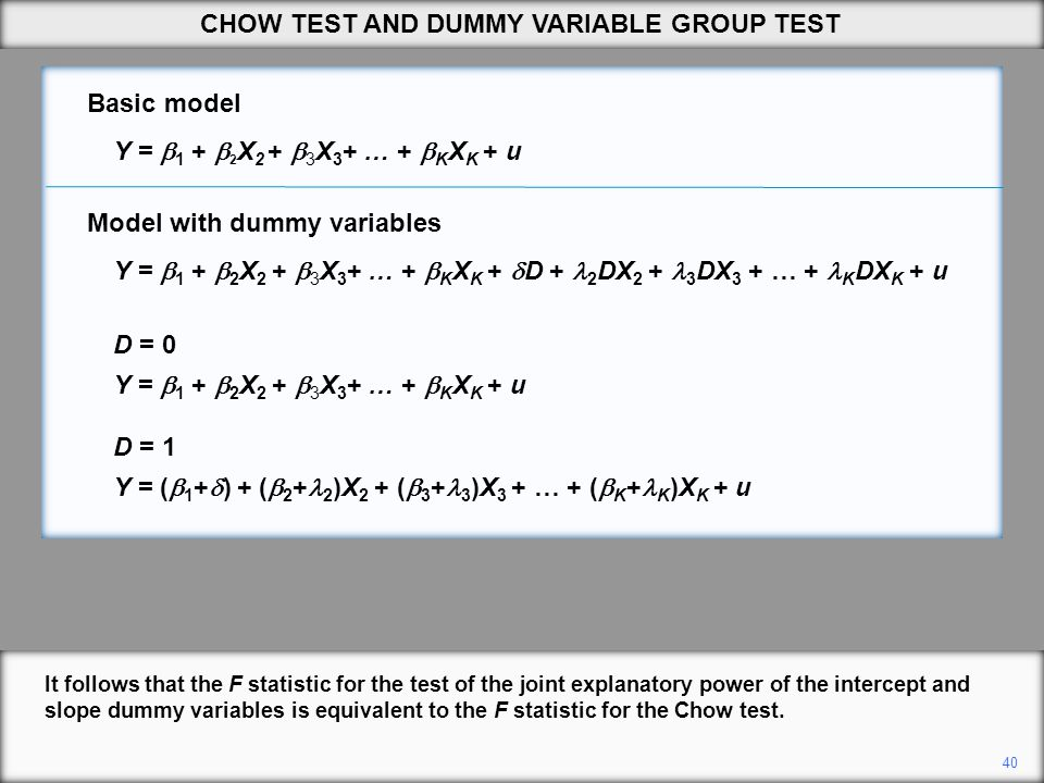 40 It follows that the F statistic for the test of the joint explanatory power of the intercept and slope dummy variables is equivalent to the F stati