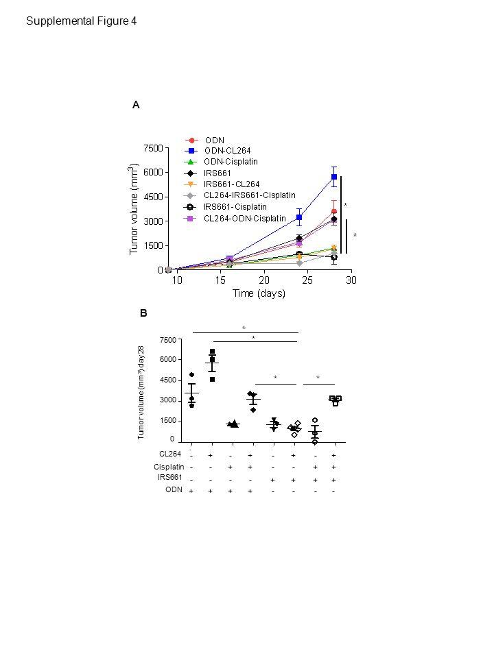 10 20 40 30 0 PBS CL264 %CD3+ cells among CD45+ cells ns PBS CL264 0 5 10 15 20 nb CD3+ cells (x10 6 ) ns PBS CL264 %CD3+ CD4+ cells among CD45+ cells 80 60 100 40 20 0 ns PBS CL264 nb CD3+ CD4+ cells (x10 6 ) 0 5 10 15 ns CD3 + T cellsCD4 + T cells PBS CL264 2 4 8 6 0 10 %CD3+ CD8+ cells among CD45+ cells ns PBS CL264 nb CD3+ CD8+ cells (x10 6 ) 0 1 2 3 ns CD8 + T cells PBS CL264 0 2 4 6 8 %CD3+ Foxp3+ cells among CD45+ cells ns nb CD3+ Foxp3+ cells (x10 6 ) PBS CL264 0 1 2 3 ns CD3 + Foxp3 + T Reg cells PBS CL264 0 5 10 15 20 %Gr1- CD11c+ cells among CD45+ cells nb Gr1- CD11c+ cells (x10 6 ) 0 5 10 15 PBS CL264 Gr1 - CD11c + dendritic cells PBS CL264 %Gr1- CD11b+ cells among CD45+ cells 0 20 40 60 PBS CL264 0 0.5 1 1.5 nb Gr1- CD11b+ cells (x10 6 ) Gr1 - CD11b + macrophages PBS CL264 10 20 40 30 %Gr1+ CD11b+ cells among CD45+ cells 0 PBS CL264 0.5 1 1.5 0 nb Gr1+ CD11b+ cells (x10 6 ) Gr1 + CD11b + MDSCs A B CD EF G ** Supplemental Figure 5