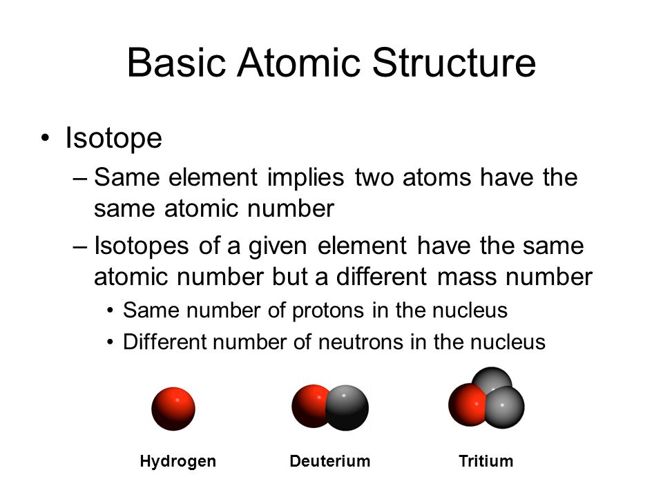 Basic Atomic Structure Isotope –Same element implies two atoms have the same atomic number –Isotopes of a given element have the same atomic number bu