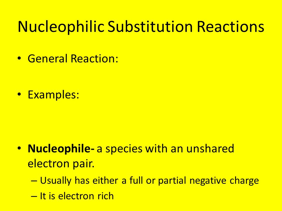 Kinetics of a Nucleophilic Substitution Reaction: An Sn2 reaction Therefore, the reaction is bimolecular, which means 2 molecules are involved in the rate determining step We call this kind of reaction an Sn2 reaction, Substitution, nucleophilic, Bimolecular