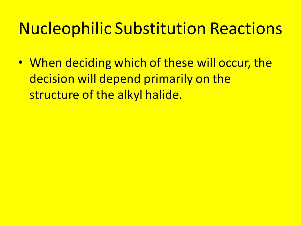 Choosing between Sn2 and Sn1 If a given alkyl halide and nucleophile react rapidly via Sn2 but slow by Sn1 then a Sn2 pathway will be followed by most of the molecules and vice versa A number of factors affect the relative rates of Sn1 and Sn2 reactions:
