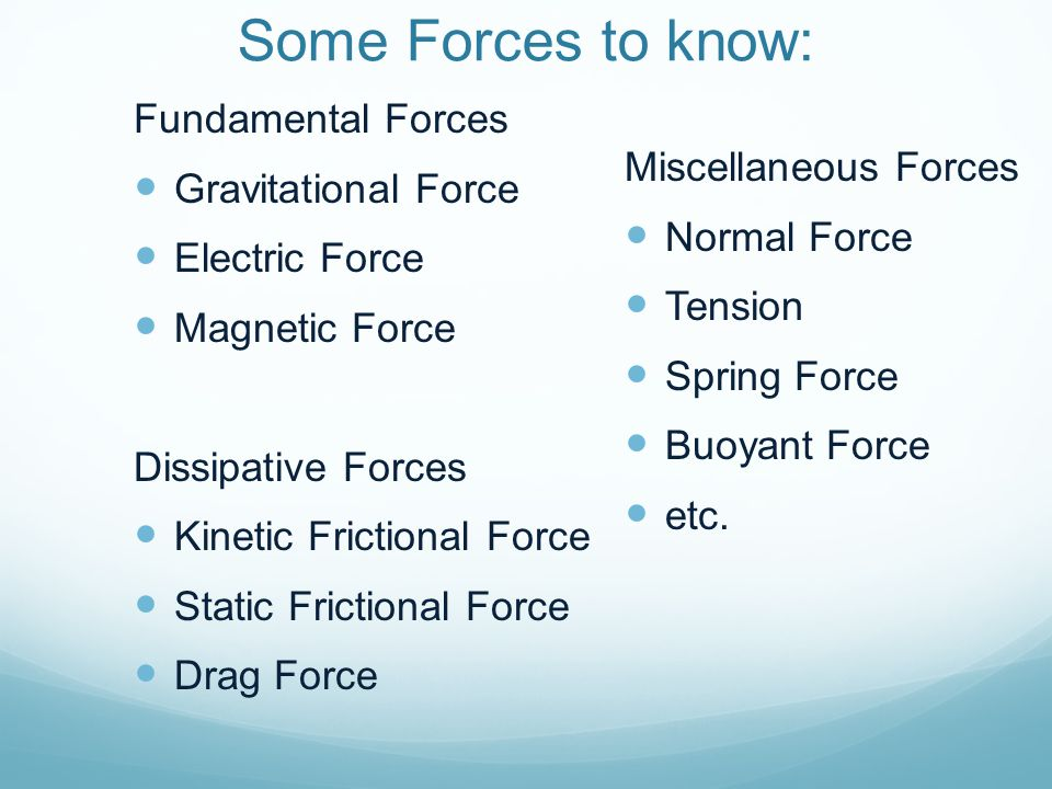 Some Forces to know: Fundamental Forces Gravitational Force Electric Force Magnetic Force Dissipative Forces Kinetic Frictional Force Static Frictiona