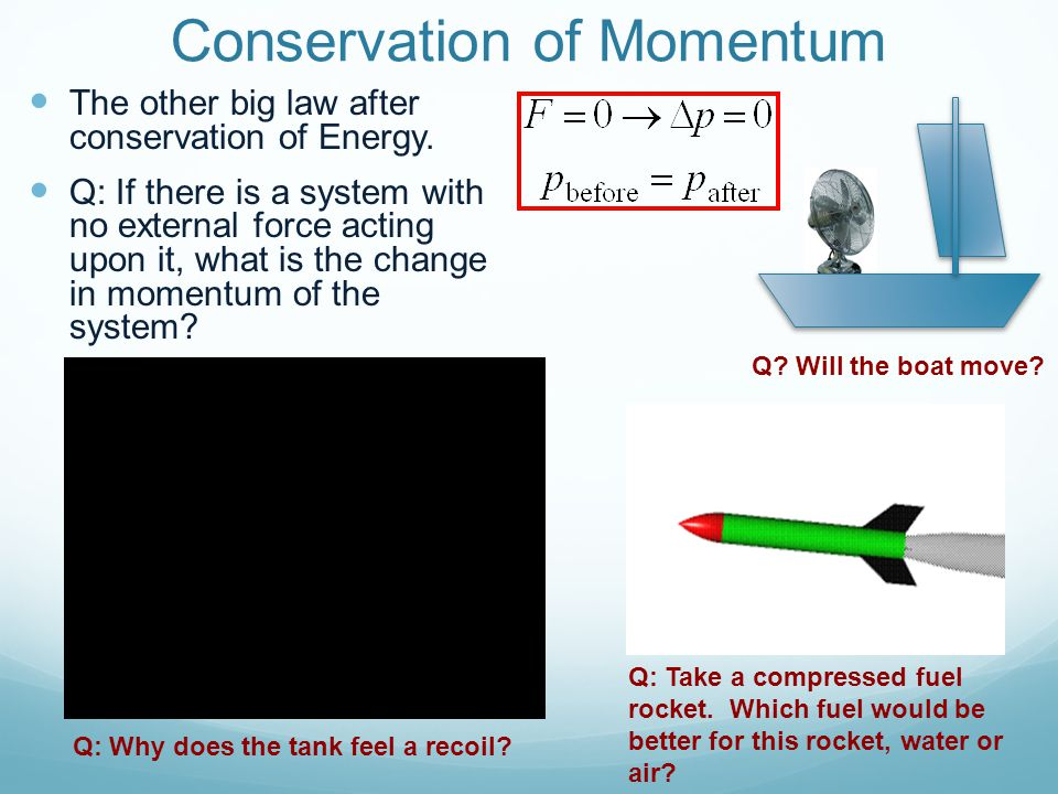 Conservation of Momentum The other big law after conservation of Energy.