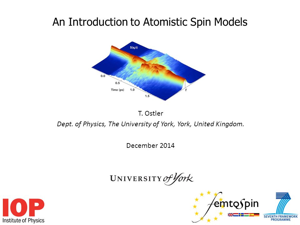 An Introduction to Atomistic Spin Models T. Ostler Dept.