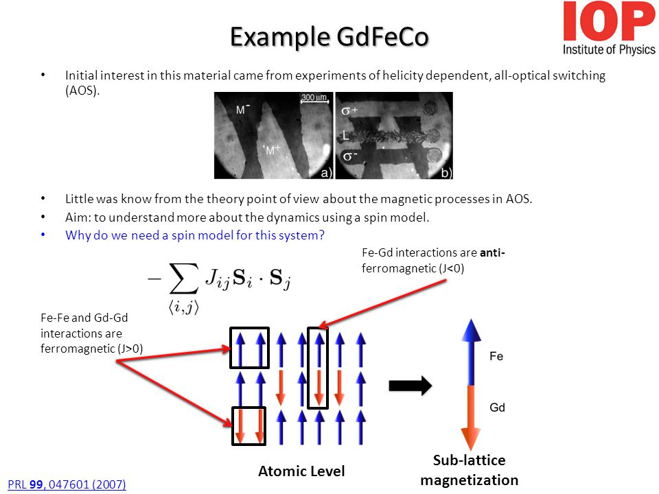 Example GdFeCo Initial interest in this material came from experiments of helicity dependent, all-optical switching (AOS).