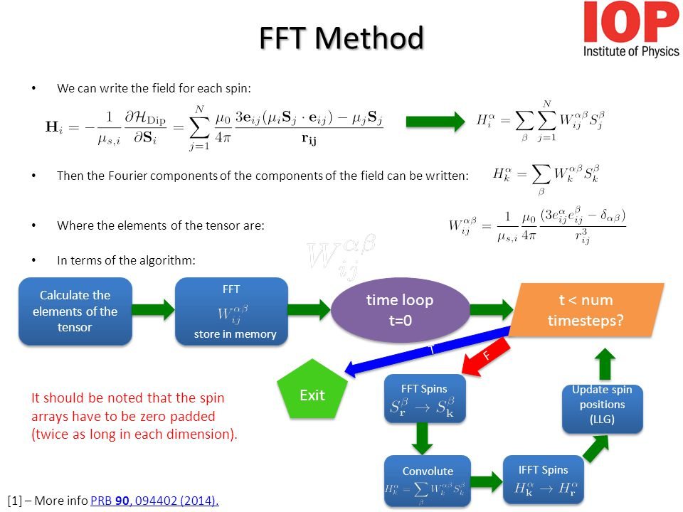 T T FFT Method We can write the field for each spin: Then the Fourier components of the components of the field can be written: Where the elements of the tensor are: In terms of the algorithm: Calculate the elements of the tensor FFT store in memory FFT store in memory time loop t=0 t < num timesteps.