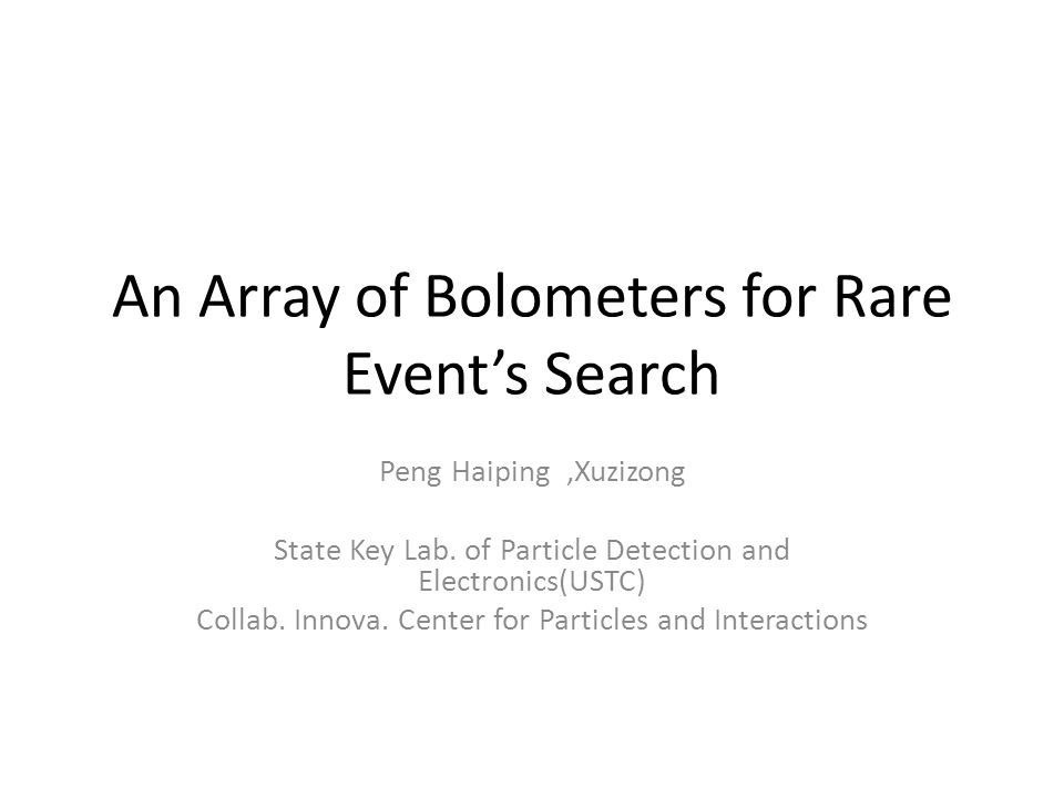 1 Introduction 2 Bolometers for Rare Event Search 3 Outlooks