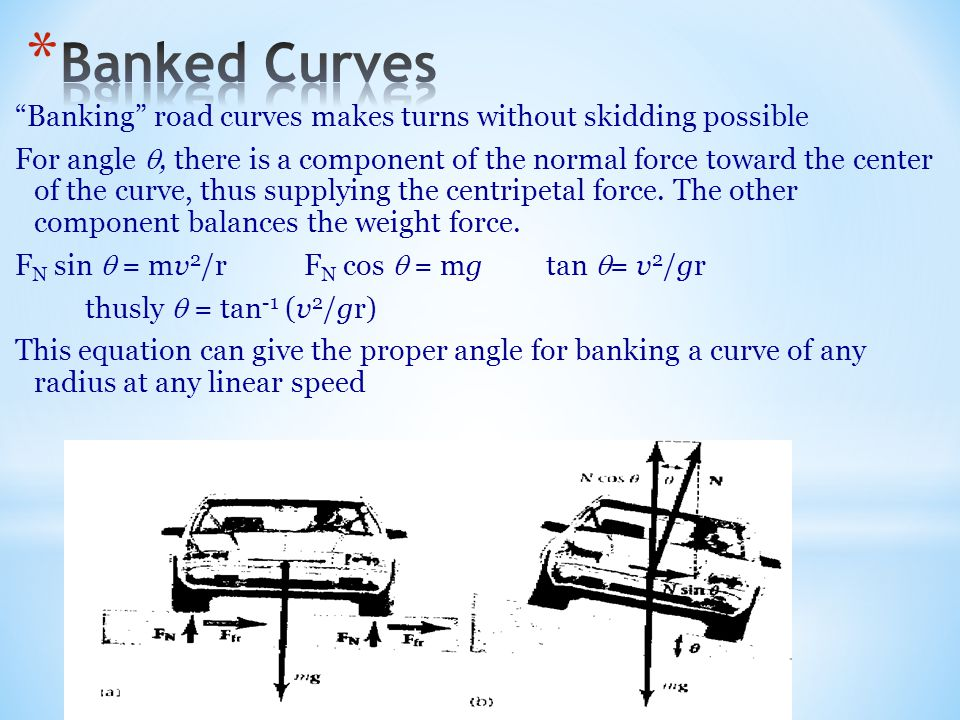 """""""Banking"""" road curves makes turns without skidding possible For angle , there is a component of the normal force toward the center of the curve, thus"""
