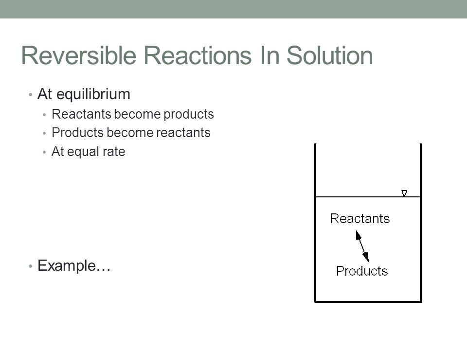 Reversible Reactions In Solution At equilibrium Reactants become products Products become reactants At equal rate Example…