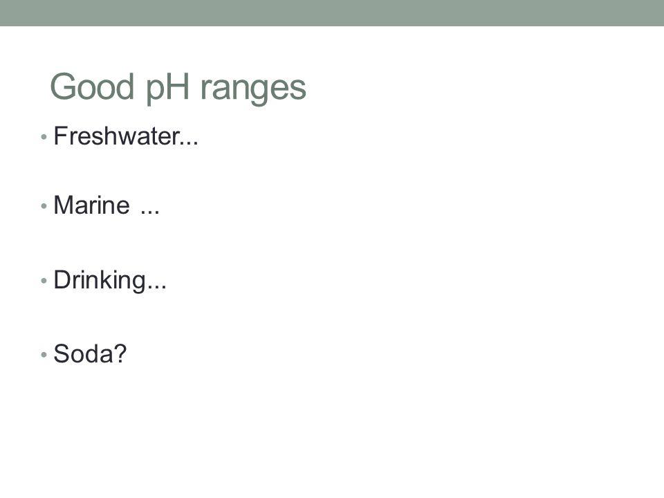 Good pH ranges Freshwater... Marine... Drinking... Soda?