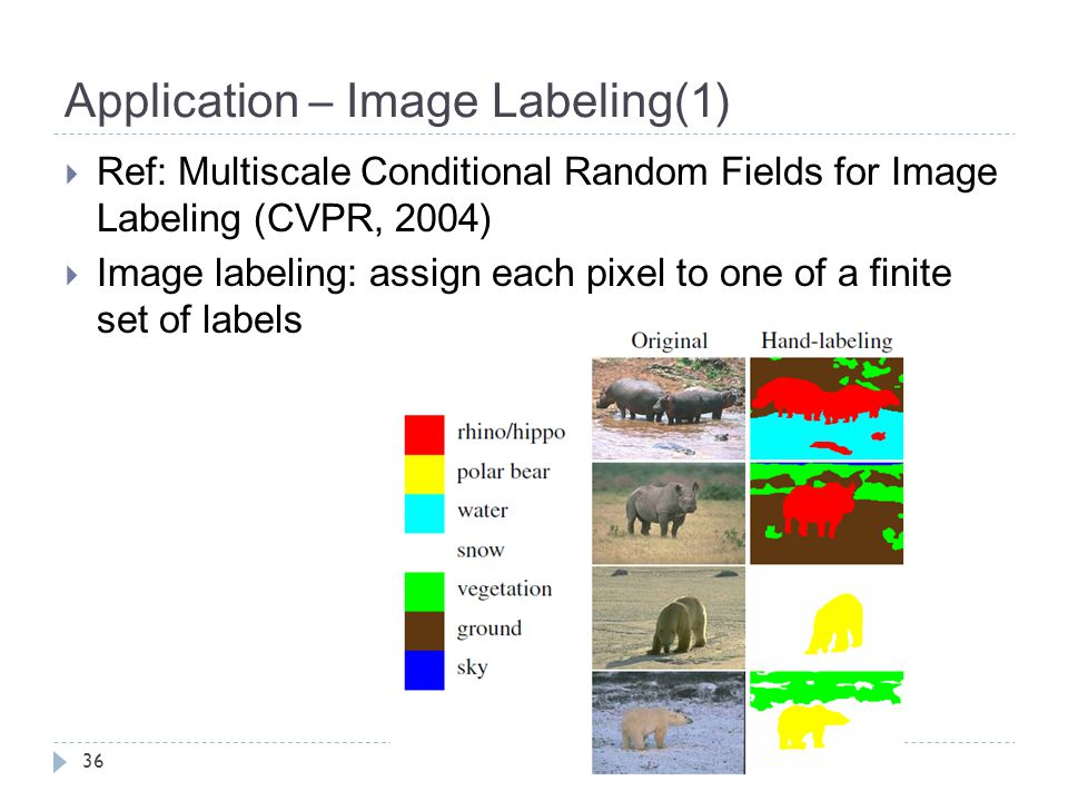 Application – Image Labeling(1) 36  Ref: Multiscale Conditional Random Fields for Image Labeling (CVPR, 2004)  Image labeling: assign each pixel to one of a finite set of labels