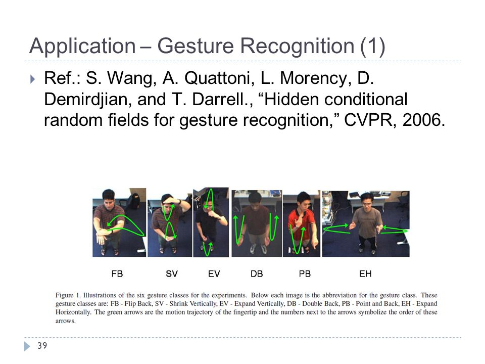 """Application – Gesture Recognition (1) 39  Ref.: S. Wang, A. Quattoni, L. Morency, D. Demirdjian, and T. Darrell., """"Hidden conditional random fields fo"""