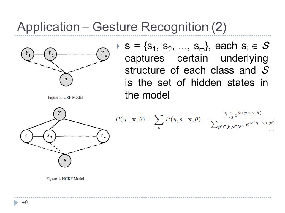 Application – Gesture Recognition (2) 40  s = {s 1, s 2,..., s m }, each s i ∈ S captures certain underlying structure of each class and S is the set