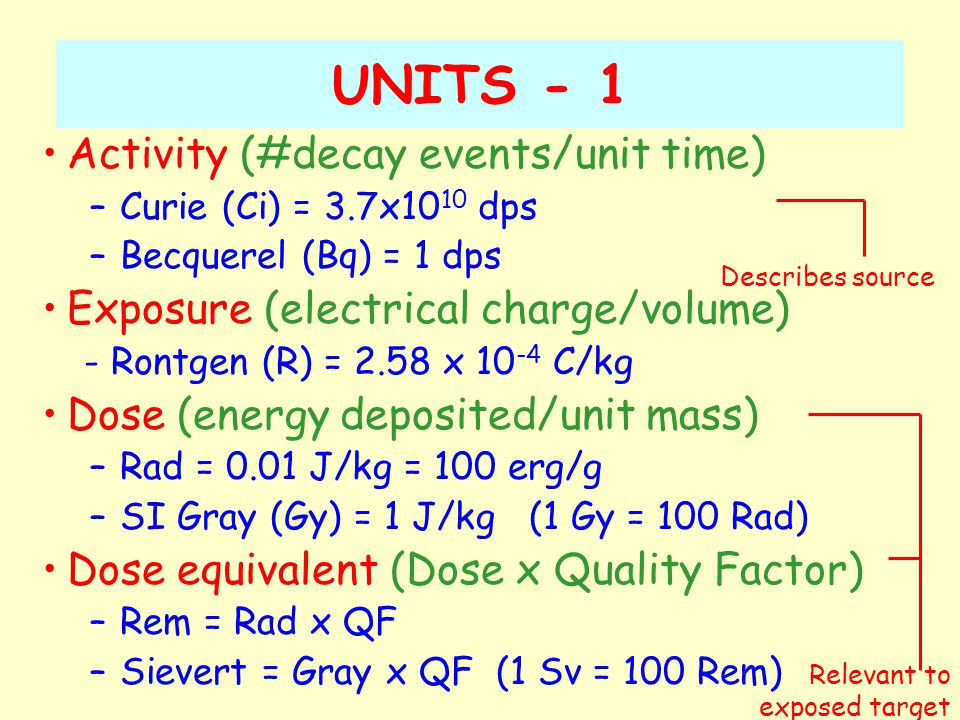 UNITS - 2 Radiation energy –Electron volt (eV) = 1.602 x 10 -19 J Regulatory units –Exemption quantity (EQ): indiscriminate use of 1 EQ could result in a dose not exceeding the maximum yearly permissible dose –Annual limit of intake (ALI): intake of 1 ALI is deemed to result in a committed dose equivalent of 20 mSv