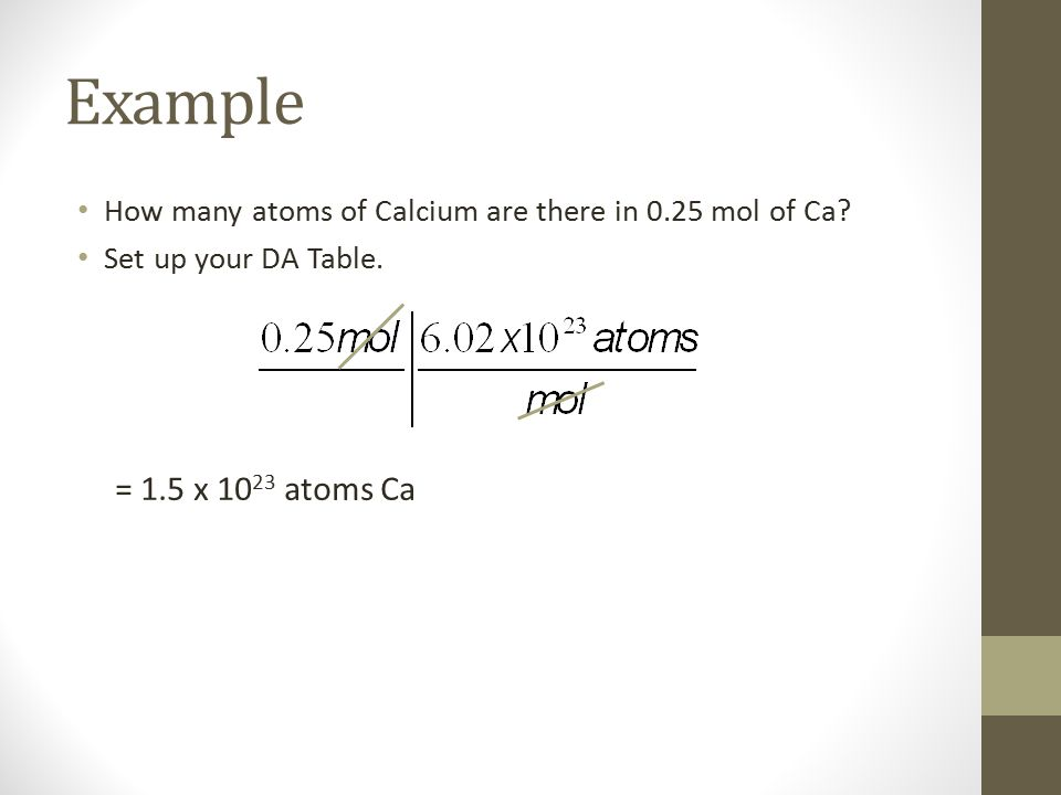 Example How many atoms of Calcium are there in 0.25 mol of Ca? Set up your DA Table. = 1.5 x 10 23 atoms Ca