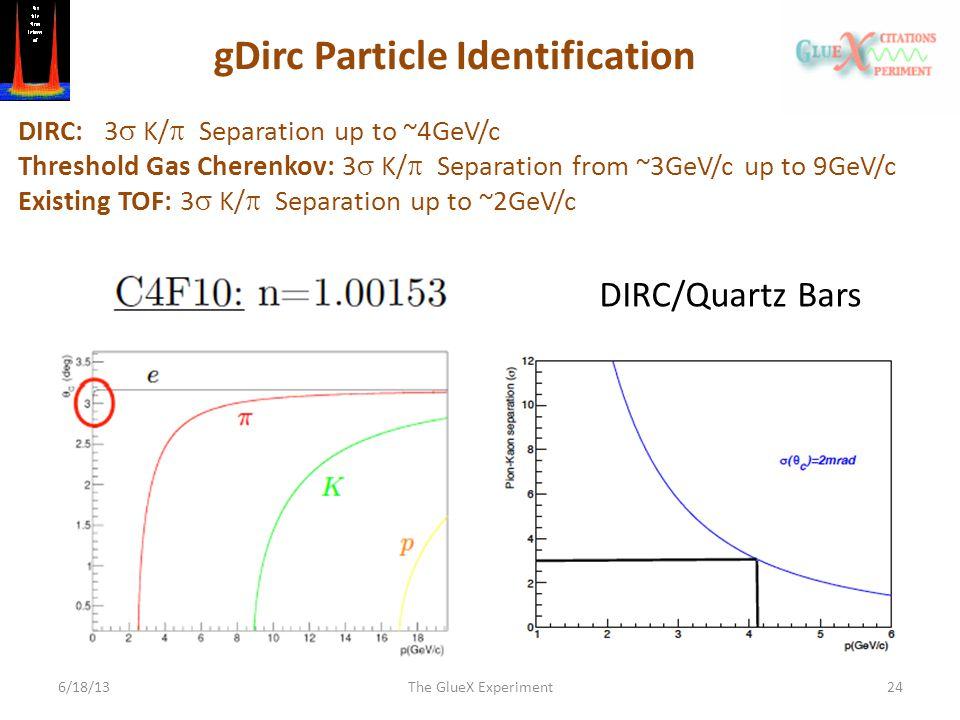 6/18/13The GlueX Experiment24 DIRC/Quartz Bars gDirc Particle Identification DIRC: 3  K/  Separation up to ~4GeV/c Threshold Gas Cherenkov: 3  K/  Separation from ~3GeV/c up to 9GeV/c Existing TOF: 3  K/  Separation up to ~2GeV/c