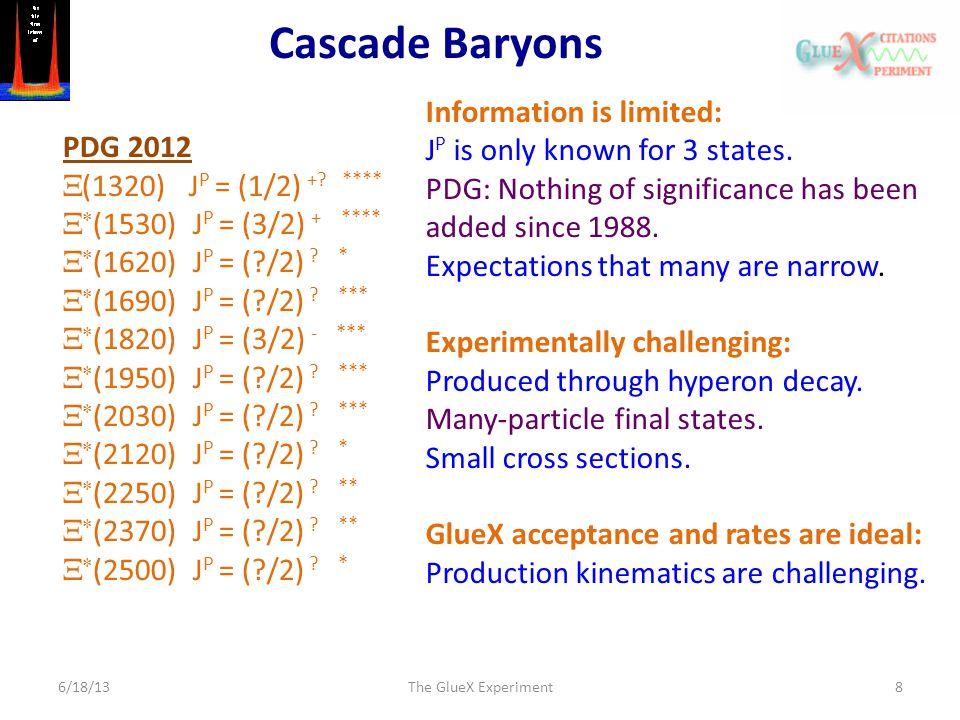 Cascade Baryons 6/18/13The GlueX Experiment8 PDG 2012  (1320) J P = (1/2) +.