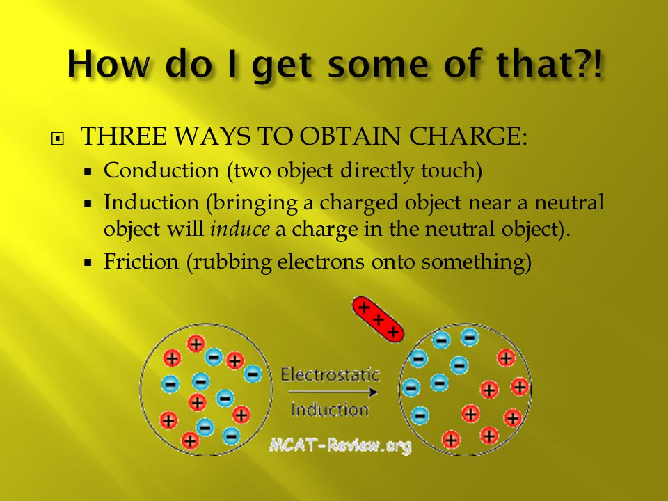  THREE WAYS TO OBTAIN CHARGE:  Conduction (two object directly touch)  Induction (bringing a charged object near a neutral object will induce a charge in the neutral object).