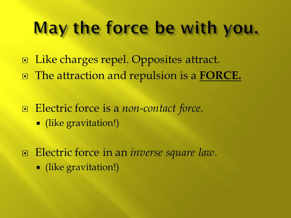  Like charges repel.Opposites attract.  The attraction and repulsion is a FORCE.
