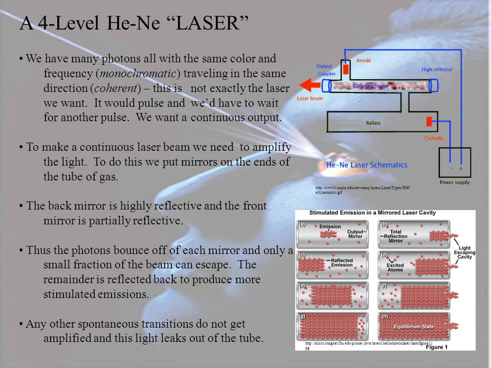 """A Four Level He-Ne """"LASER"""" http://www1.union.edu/newmanj/lasers/LaserTypes/HeNeTransitions.gif We take a mixture of Helium and Neon gases and recall t"""