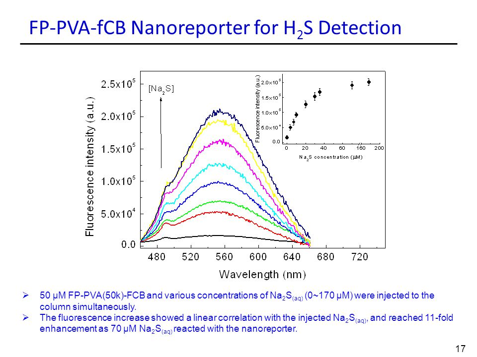 FP-PVA-fCB Nanoreporter for H 2 S Detection  50 μM FP-PVA(50k)-FCB and various concentrations of Na 2 S (aq) (0~170 μM) were injected to the column s