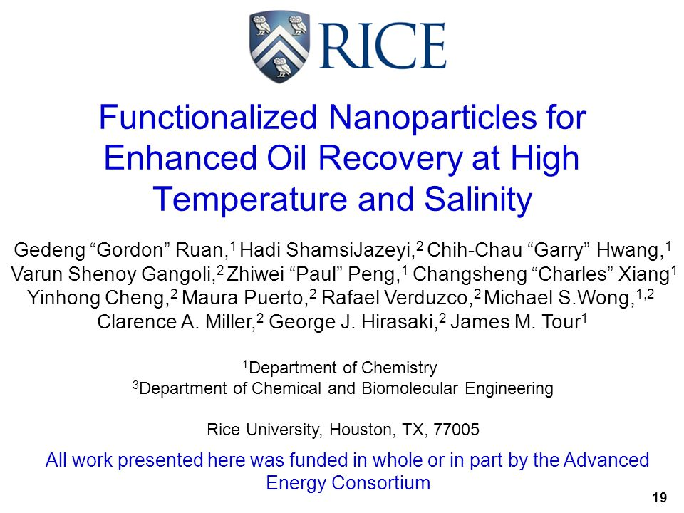"Functionalized Nanoparticles for Enhanced Oil Recovery at High Temperature and Salinity Gedeng ""Gordon"" Ruan, 1 Hadi ShamsiJazeyi, 2 Chih-Chau ""Garry"""