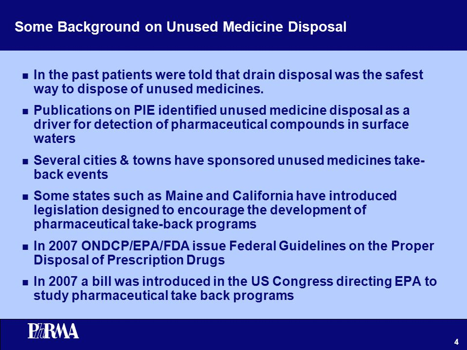 4 Some Background on Unused Medicine Disposal n In the past patients were told that drain disposal was the safest way to dispose of unused medicines.