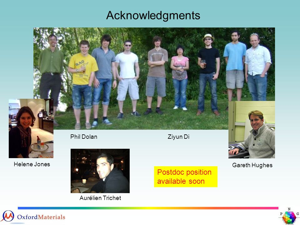 Acknowledgments Phil DolanZiyun Di Helene Jones Gareth Hughes Postdoc position available soon Aurélien Trichet