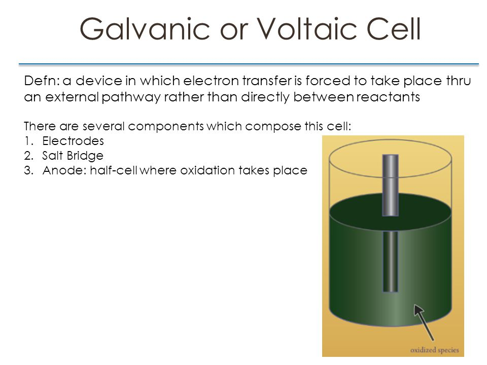 Voltaic vs Electrolytic Cells Defn of electrolytic cell: it is a cell that requires an external source to cause electrons to flow Electrolytic Cell Voltaic Cell  Always spontaneous   G 0  Always nonspontaneous   G > 0 & E < 0