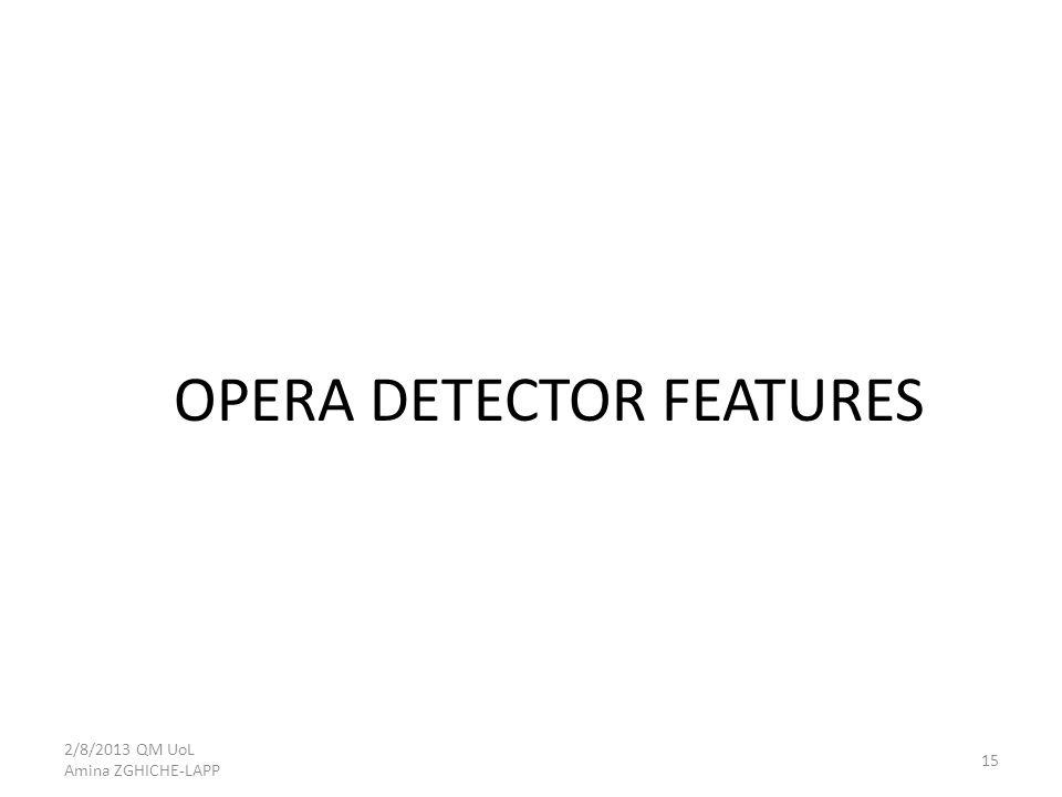 OPERA DETECTOR FEATURES 2/8/2013 QM UoL Amina ZGHICHE-LAPP 15