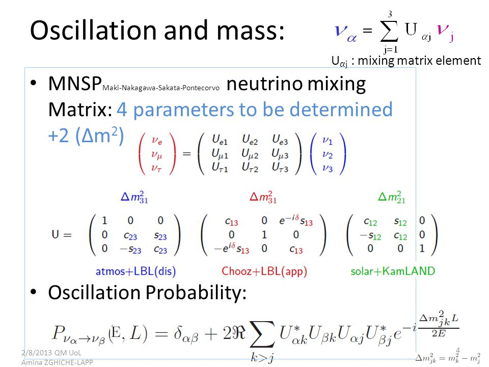 Oscillation and mass: MNSP Maki-Nakagawa-Sakata-Pontecorvo neutrino mixing Matrix: 4 parameters to be determined +2 (∆m 2 ) Oscillation Probability: U  j : mixing matrix element 2/8/2013 QM UoL Amina ZGHICHE-LAPP 4