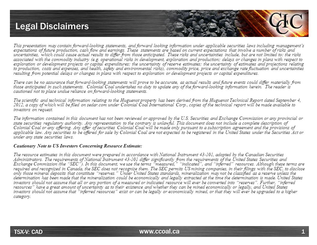 TSX-V: CAD www.ccoal.ca Company Snapshot 2 Strategic Location High Quality Coking Coal Experienced Management Team David AustinChief Executive Officer and Chairman John PerryChief Operating Officer and Director William Filtness, CAChief Financial Officer Perry BraunBusiness Development Source: Company disclosure, FactSet Huguenot: Measured and Indicated(Mt)277.7 Inferred(Mt)119.2 Flatbed: Est.