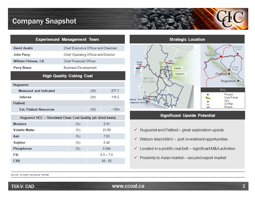 TSX-V: CAD www.ccoal.ca Huguenot Coking Coal Project – 100% Interest 13 Project Location Source: Company disclosure Project Summary ●Located adjacent to the proposed Belcourt South open pit (owned by Belcourt Saxon Coal Ltd.