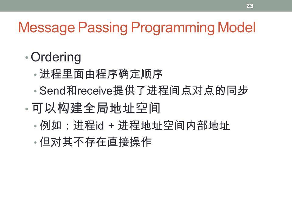 Message Passing Programming Model Ordering 进程里面由程序确定顺序 Send 和 receive 提供了进程间点对点的同步 可以构建全局地址空间 例如:进程 id + 进程地址空间内部地址 但对其不存在直接操作 23