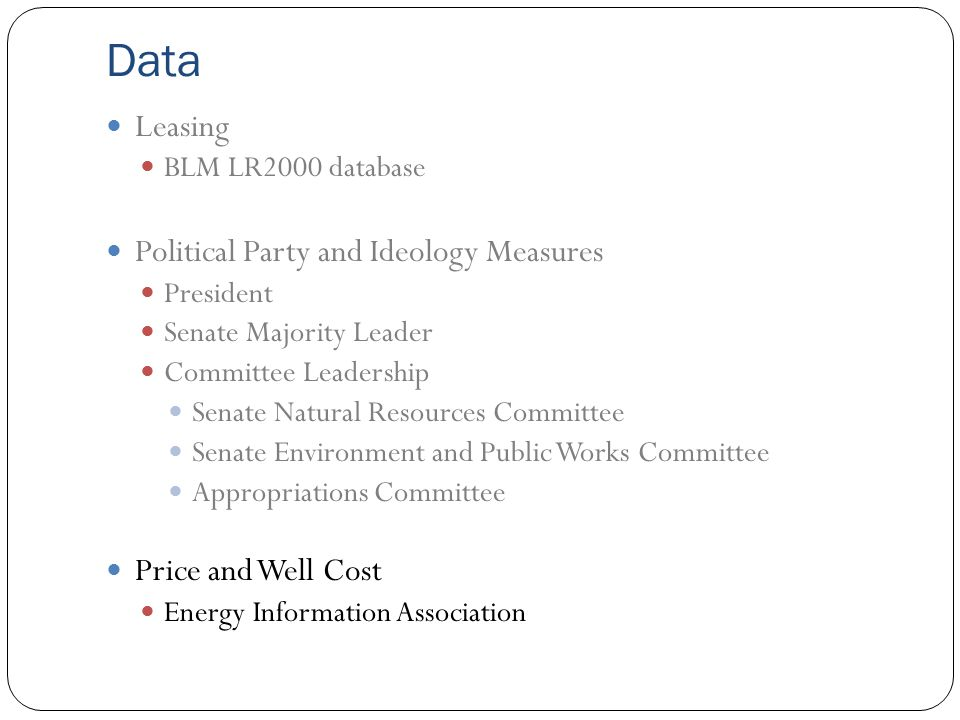 Data Leasing BLM LR2000 database Political Party and Ideology Measures President Senate Majority Leader Committee Leadership Senate Natural Resources