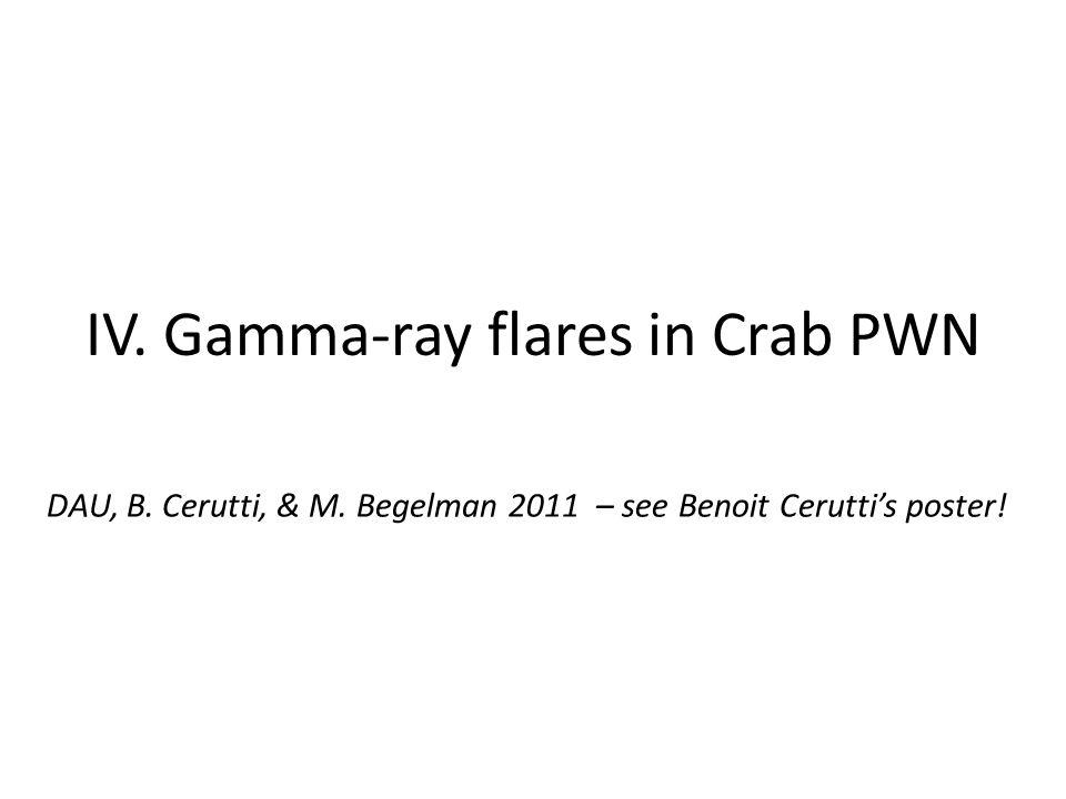 IV. Gamma-ray flares in Crab PWN DAU, B. Cerutti, & M. Begelman 2011 – see Benoit Cerutti's poster!