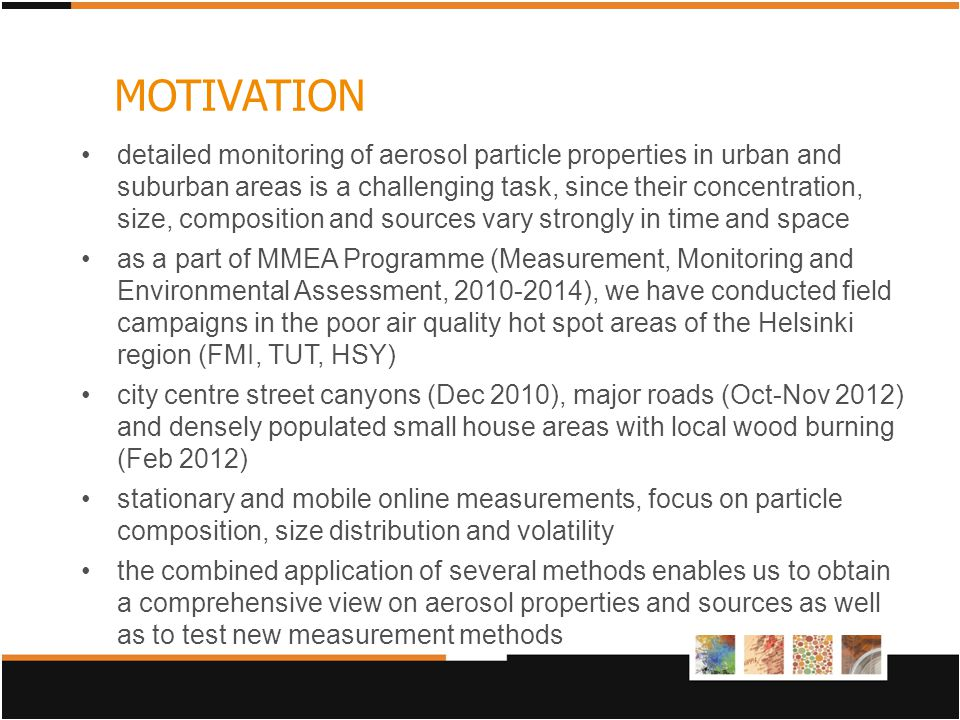 detailed monitoring of aerosol particle properties in urban and suburban areas is a challenging task, since their concentration, size, composition and