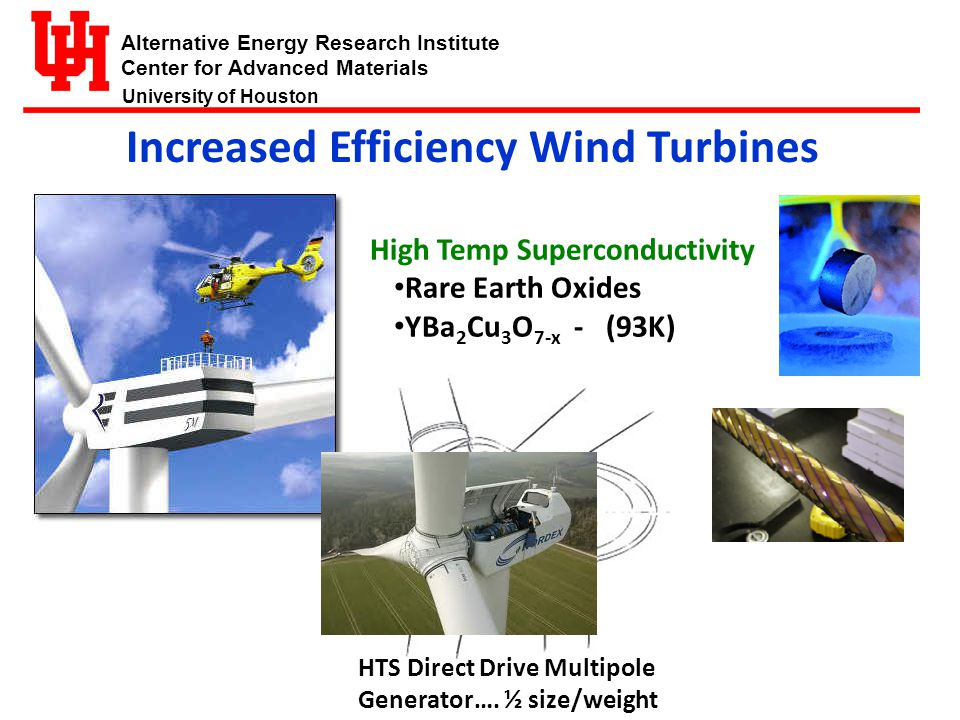 Alternative Energy Research Institute Center for Advanced Materials University of Houston Increased Efficiency Wind Turbines HTS Direct Drive Multipole Generator….