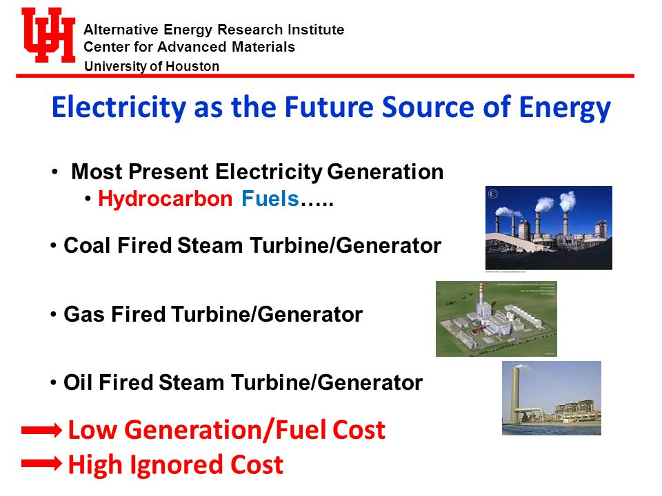 Alternative Energy Research Institute Center for Advanced Materials University of Houston Protect the environment and at the same time fulfill economic and social objectives The Sustainable Energy Principle