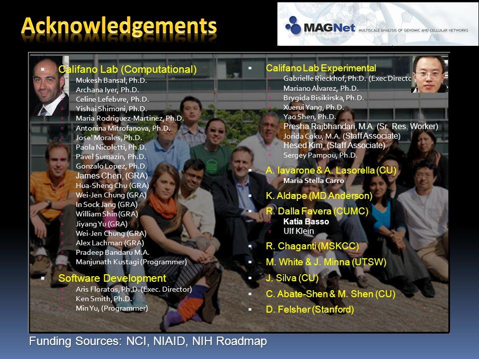 Funding Sources: NCI, NIAID, NIH Roadmap  Califano Lab Experimental  Gabrielle Rieckhof, Ph.D.