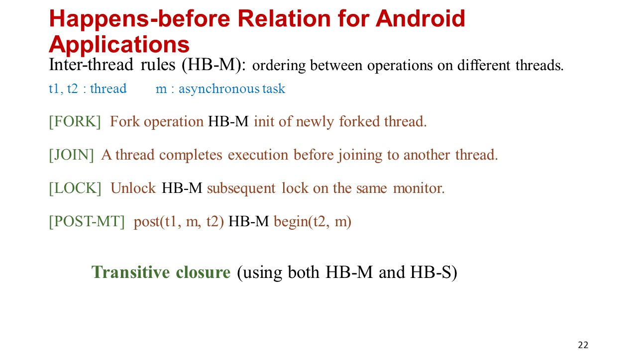 Happens-before Relation for Android Applications Inter-thread rules (HB-M): ordering between operations on different threads.